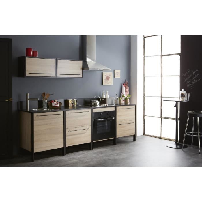cuisine compl te contemporaine ch ne brut noir kassel achat vente cuisine compl te cuisine. Black Bedroom Furniture Sets. Home Design Ideas