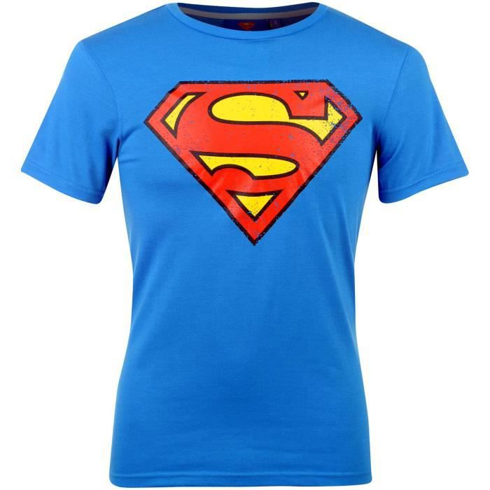 tee shirt junior enfant officiel dc comics superman superhero bleu achat vente t shirt. Black Bedroom Furniture Sets. Home Design Ideas