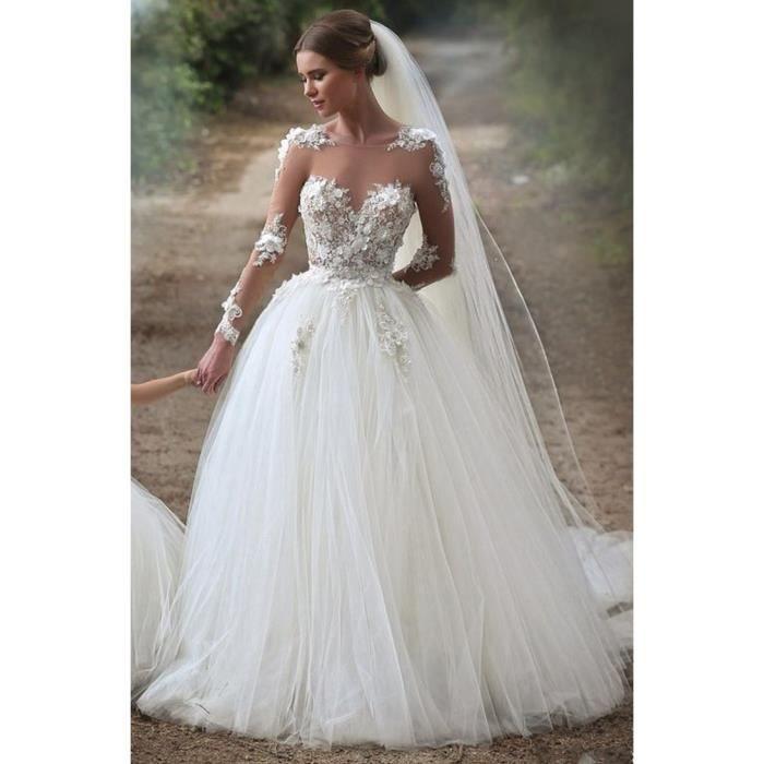 Robe de Mariage sexy Traîne Blanche Princesse