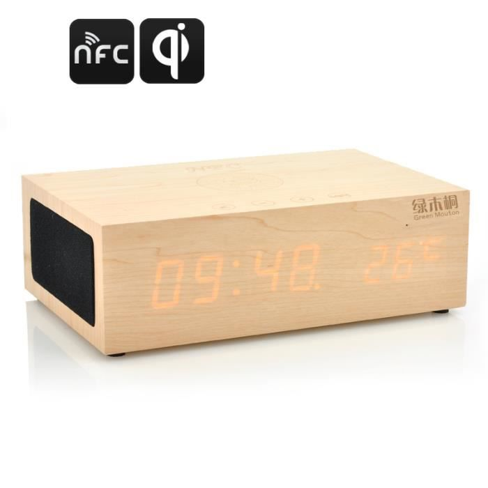 r veil led en bois station de charge qi sans fi radio r veil avis et prix pas cher cdiscount. Black Bedroom Furniture Sets. Home Design Ideas