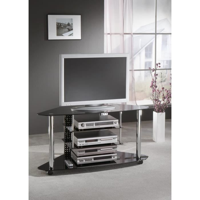 meuble tv d 39 angle contraste verre noir achat vente meuble tv meuble tv d 39 angle contraste. Black Bedroom Furniture Sets. Home Design Ideas