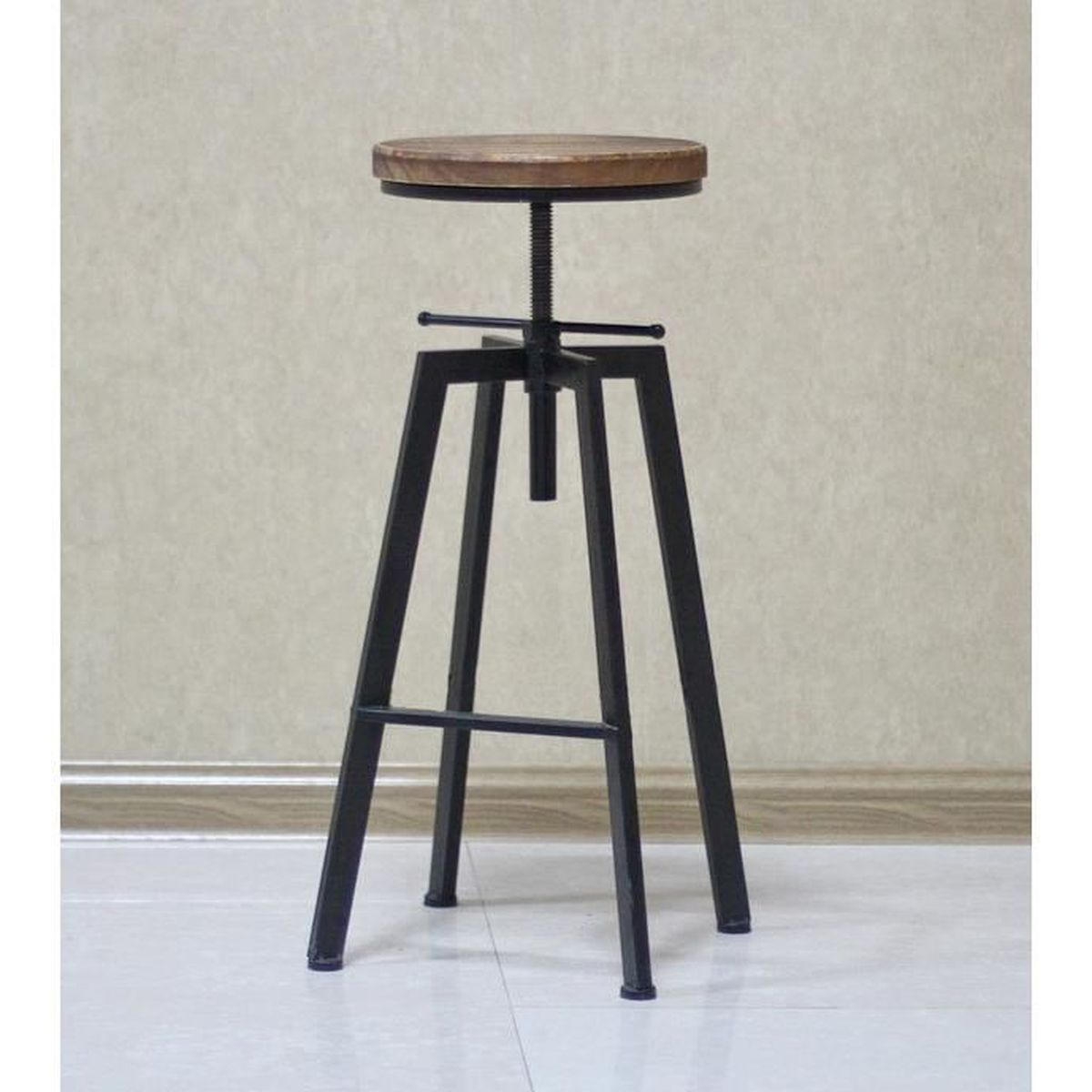 tabouret de bar yako 1 sur vis design luxe industriel design retro vintage m tal bois achat. Black Bedroom Furniture Sets. Home Design Ideas