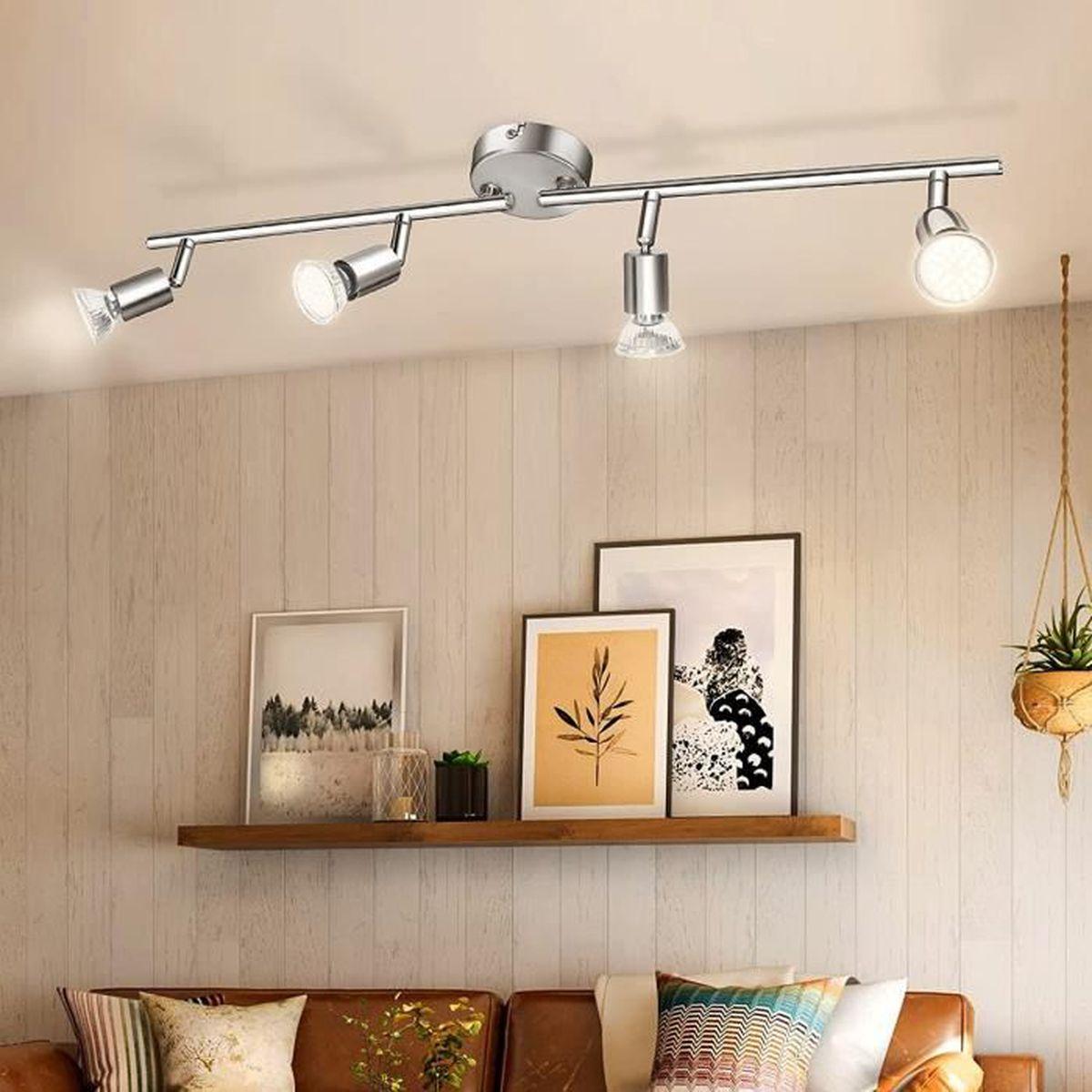 Lampe Plafond Salon Design plafonnier led 4 spots orientables,4x4w g9 inclus, spots