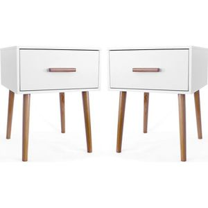 CHEVET  Maison Maligne - Lot de 2 Tables de Chevet Scandi