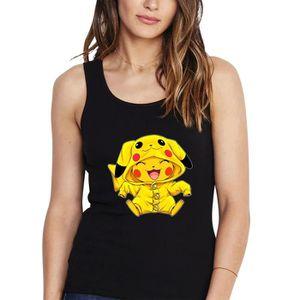 Débardeur Débardeur Femme Noir Pokémon parodique Pikachu Cos