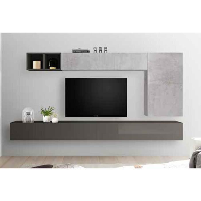 LUDOVICA 44 LAQUE GRIS ET BETON ENSEMBLE COMPOSITION MURALE MEUBLE TV TENDANCE