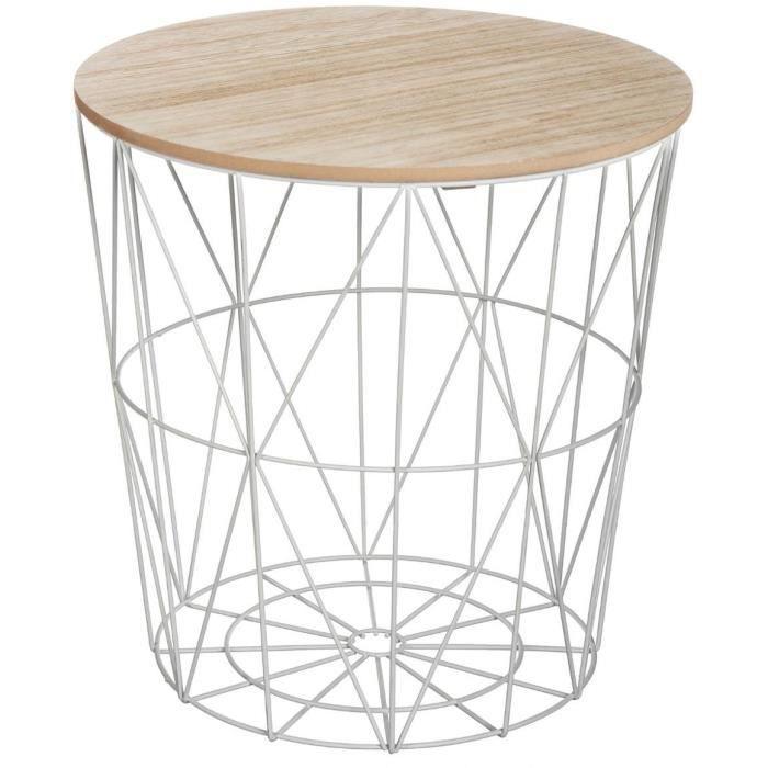 Table à café Kumi - D 39.5 x 41 cm Gris Gris Et Beige