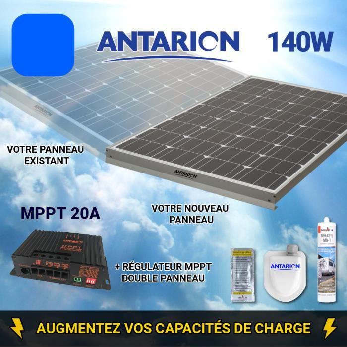 KIT PANNEAU SOLAIRE 150W ANTARION - RÉGULATEUR MPPT20A 20 Ampères DOUBLE PANNEAU
