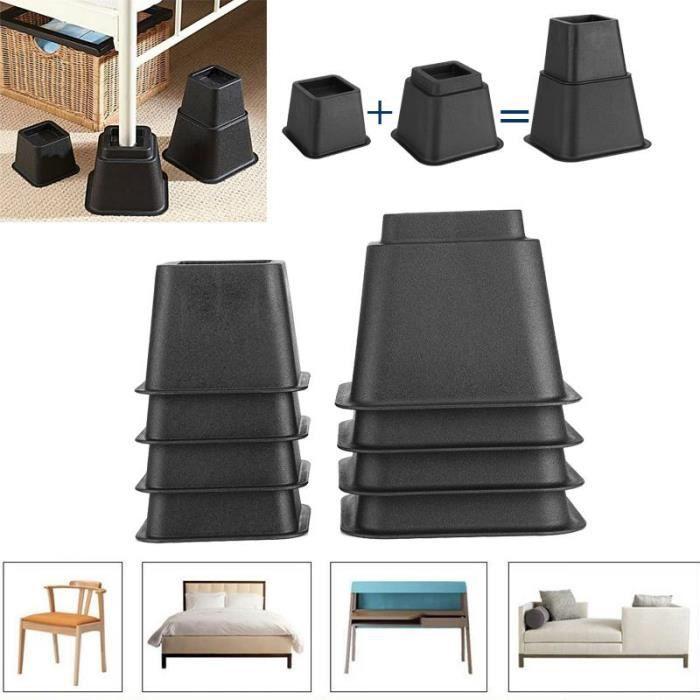 Lot de 8 rehausseurs de lit ou de meuble Pied Rehausseur de Meuble Pied de meubles Riser de fourniture Réhausseur de meuble