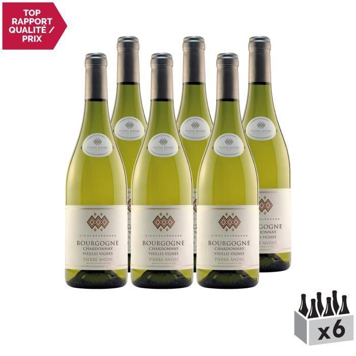 Bourgogne Chardonnay Vieilles Vignes Blanc 2018 - Lot de 6x75cl - Pierre André - Vin AOC Blanc de Bourgogne - Cépage Chardonnay