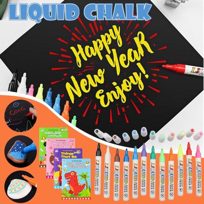 Stylo de peinture pour enfants 12 couleurs de craie liquide soluble dans l'eau sans poussière 5 ml tv2287