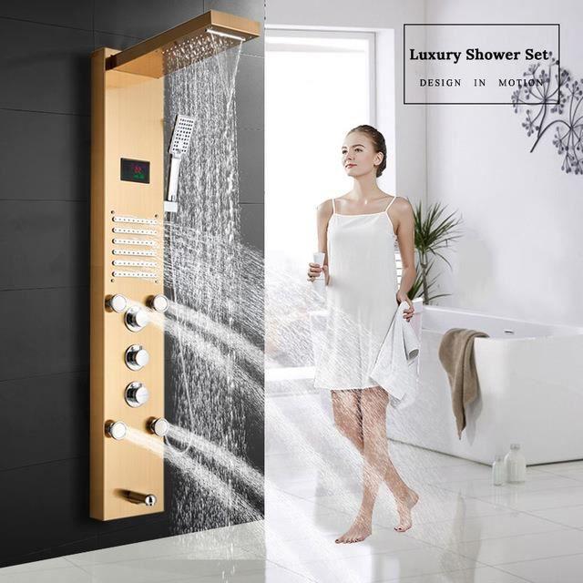 Colonne de Douche Hydromassage avec écran LCD Affichage Température D'eau