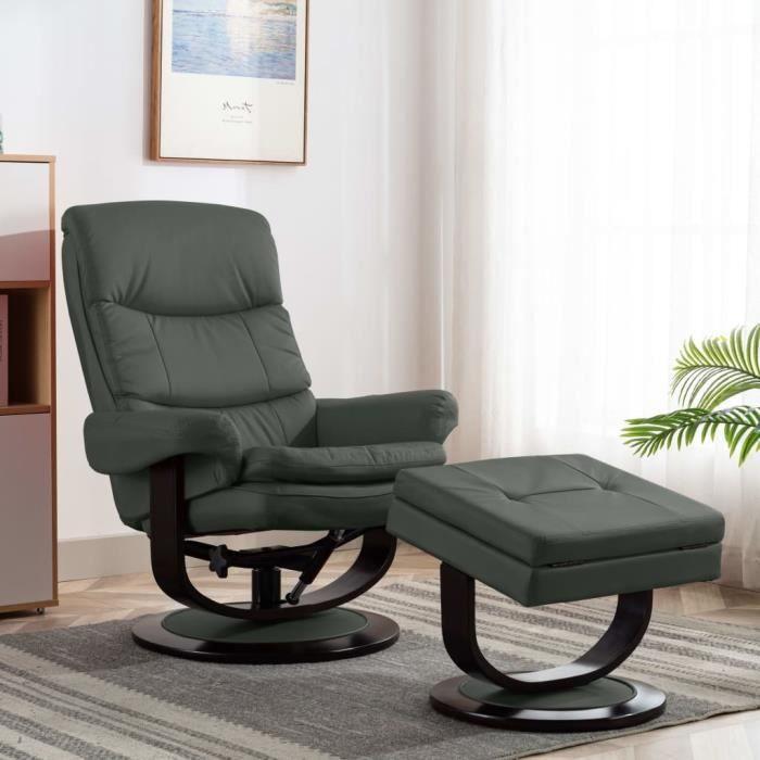 Fauteuil de Relaxation Inclinable Fauteuil TV 87 x 93 x 104 cm (l x P x H)style contemporain Scandinave - Anthracite Similicuir et