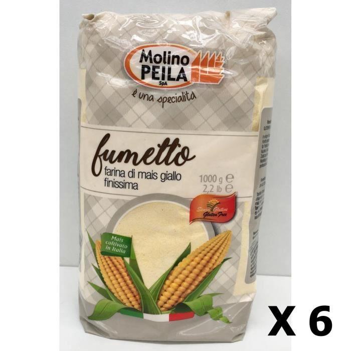 Lot 6x Farine de maïs très fine SANS GLUTEN - Italie - Molino Peila - paquet 1kg