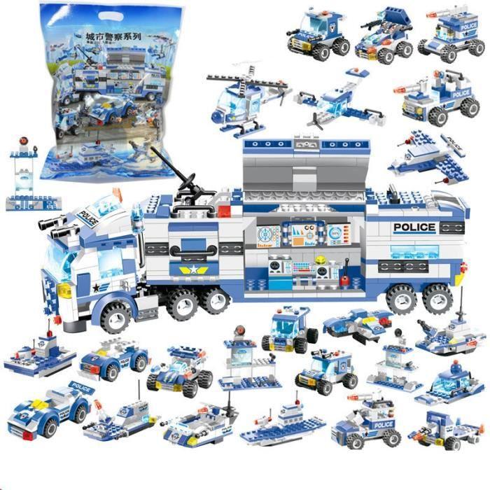 762 pièces ville Police Robot avion voiture modèle blocs de construction ensemble SWAT Playmobil créateur assemblée jouets éducatifs
