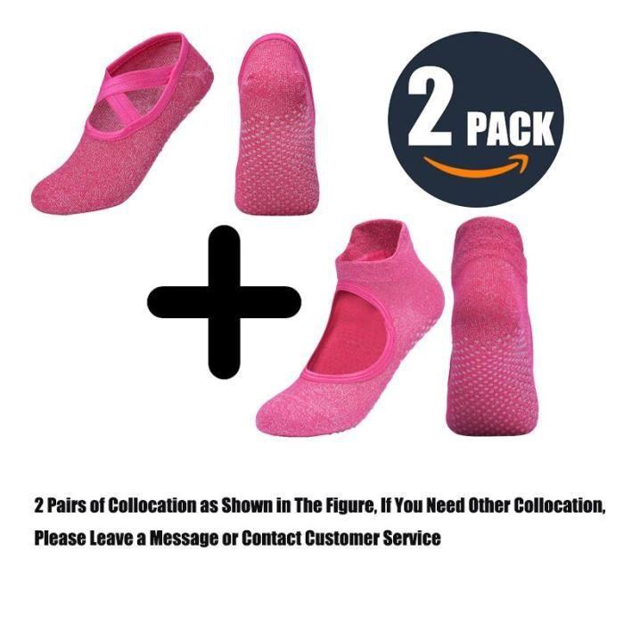 Chaussettes de sport antidérapantes en coton pour femmes, chaussons de Yoga, Pilates, protection du talon, de Ballet, de [18FEB15]