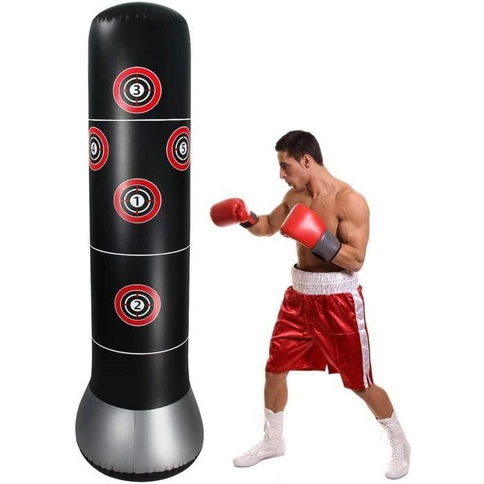 160cm Sac de Frappe sur Pied Sac de Boxe Gonflable Punching Ball pour Enfant Adulte pour Karaté, Fitness, MMA61