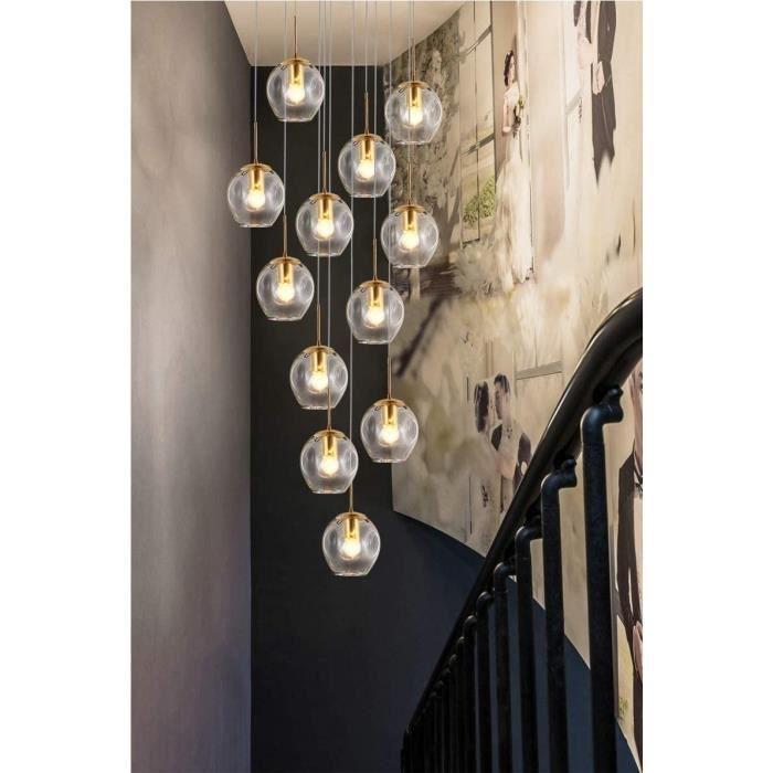 Lustre escalier, 10 LED de boules en verre Pendant Light Construction Grand Lustre for Salon Villa moderne Minimaliste lampe d'e427