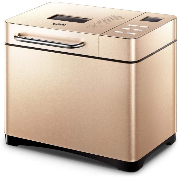 Yabano Machine à Pain 19 Programmes Acier Inox Pour Yaourt, Pain Sans Gluten, LED Display, 15H, 1kg, 650W