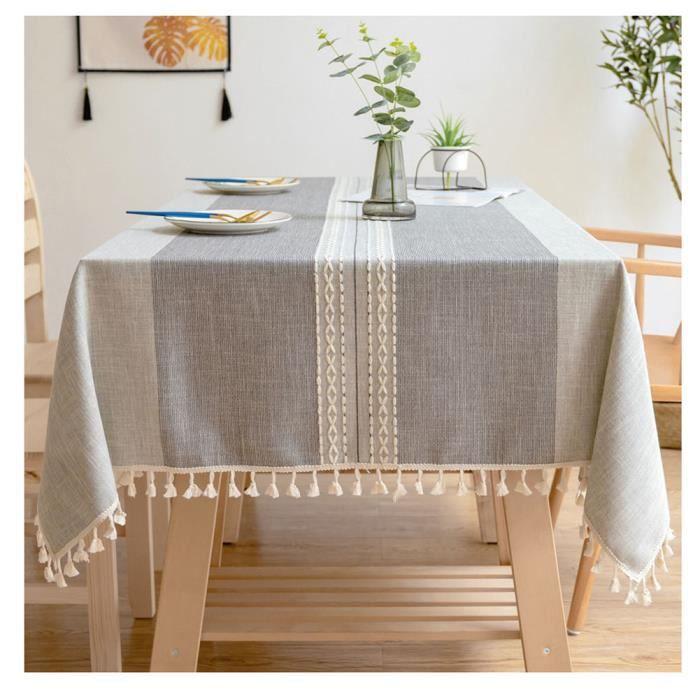 Nappes Rectangulaires Lin de coton en dentelle Anti-poussière Tissu de Table à Manger Housse pour Table Gris 90*90cm