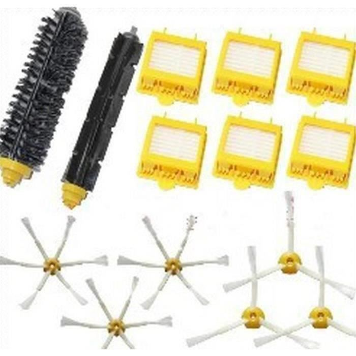Kit De 1 paire de extracteur brosse +6 Filtres HEPA + 6 Brosse Latérale Pour iRobot Roomba série 700(760 770 7*KI42045