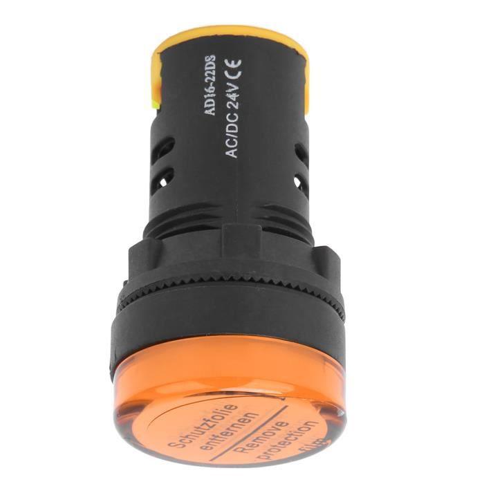 10 pièces BERM LED indicateur de puissance lumière semi-conducteur lampe à économie d'énergie φ22mm 24 V AD16-22D / S (jaune)