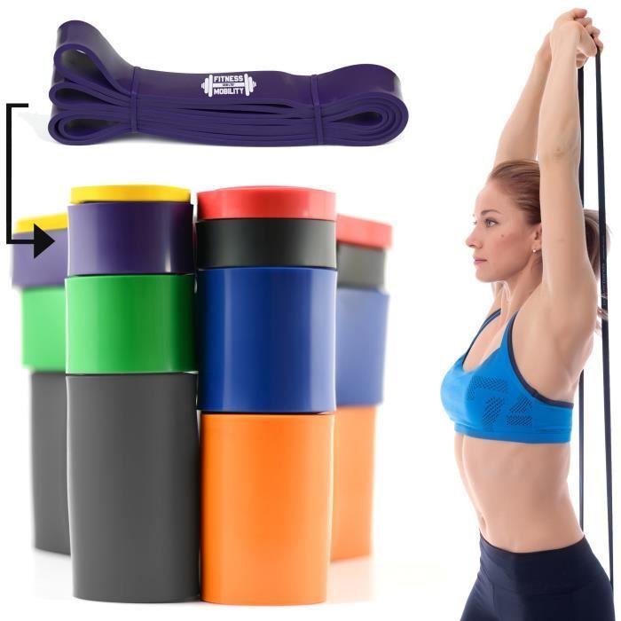 CKB LTD® Fitness 45-100lb Resistance 3.2 cm VIOLET Bande De Résistance Elastique Pour Yoga Pilate Musculation Gymnastique Suédoise