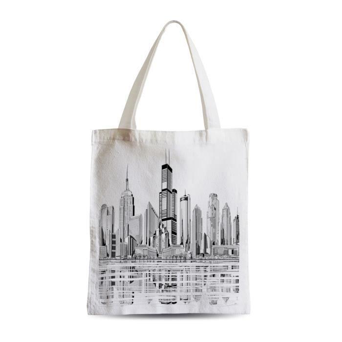 Grand Sac Shopping Plage Etudiant Etats Unis Grattes Ciel New York Los Angeles Dessin Skyline