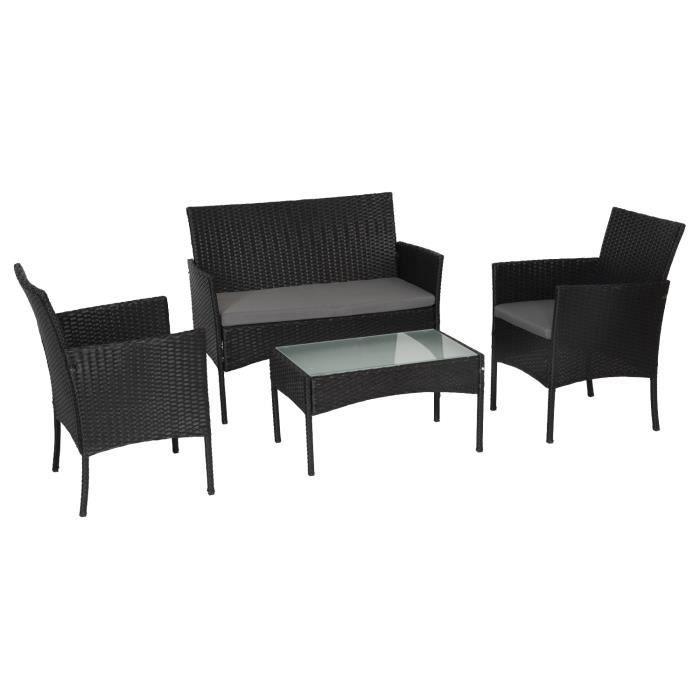 HAPPY GARDEN Salon de jardin CORDOUE en résine tressée noire 4 places - coussins gris