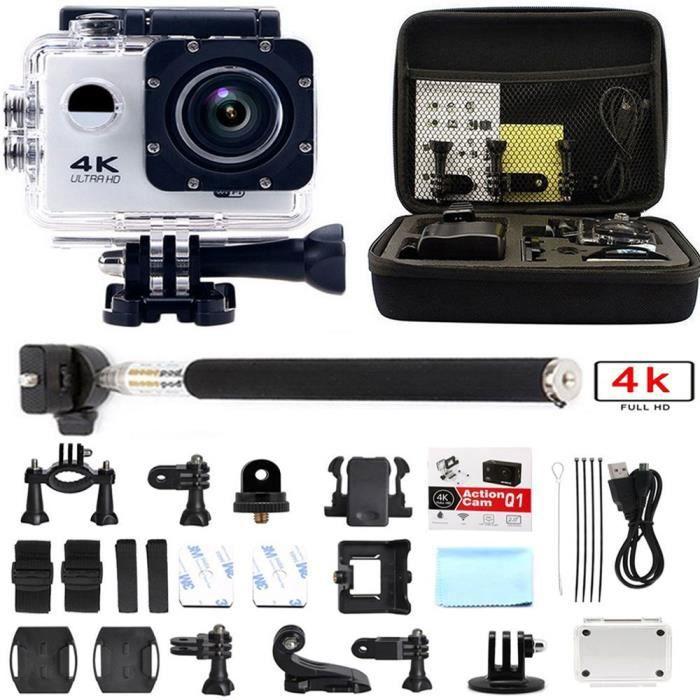 Ultra 4k Full HD Caméra Sport Wifi Etanche 30M Action Caméra Embarquée Grand Angle 170° Sac Pole Kit d'accessoires Blanc