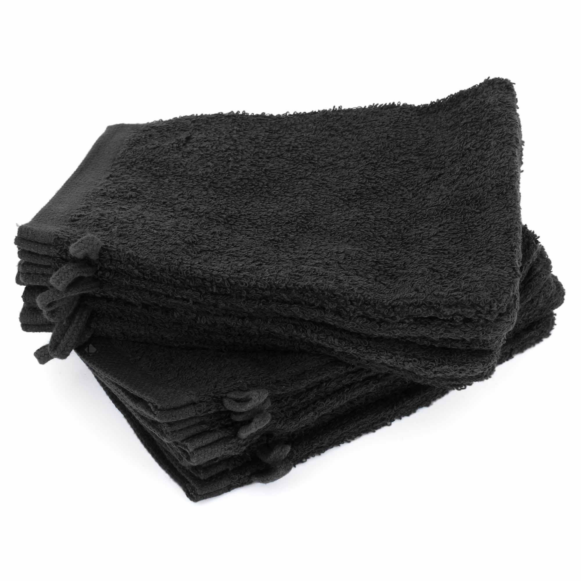 Lot de 12 gants de toilette 16x21 cm ALPHA noir Noir