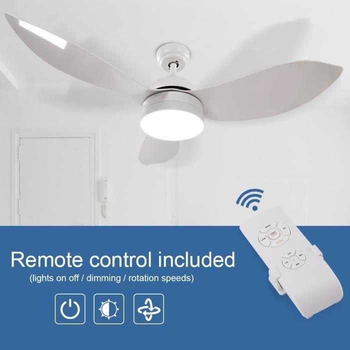 ✯48 po Lampe à LED pour ventilateur de plafond à lames avec télécommande (blanc)✯-HES