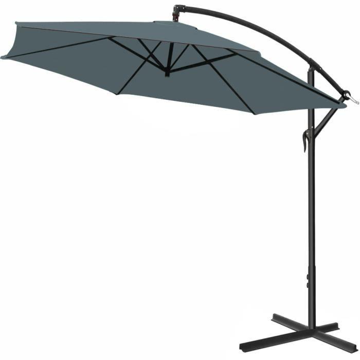 Parasol en alu Ø 330 cm Jardin terrasse balcon Pare soleil Avec manivelle GRIS