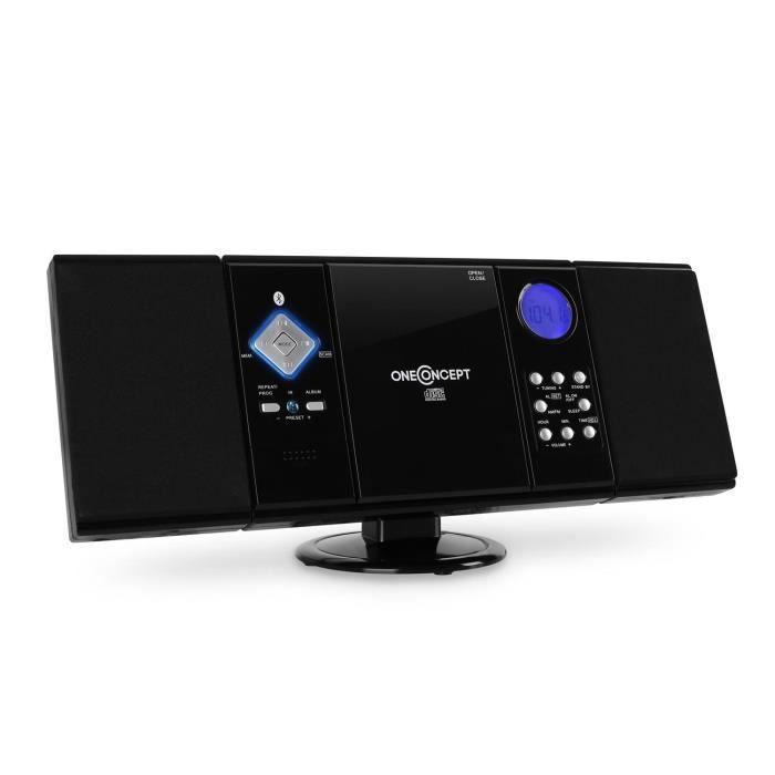 oneConcept V-12-BT Mini Chaîne stéréo HiFi, Tuner Radio AM-FM avec réveil, lecteur CD, CD-R et ports USB SD MP3 Bluetooth - noir