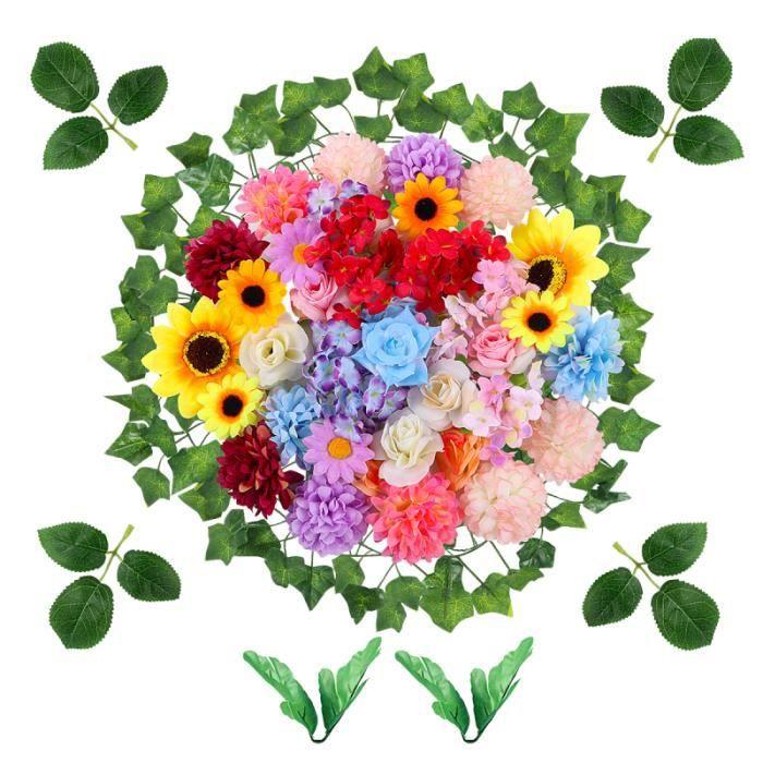 ETEREAUTY 47 PCS Faux Fleurs Têtes En Vrac Artificielle Soie Mini Tête De Fleur Mariage FLEUR-PLANTE ARTIFICIELLE - FLEUR SECHEE