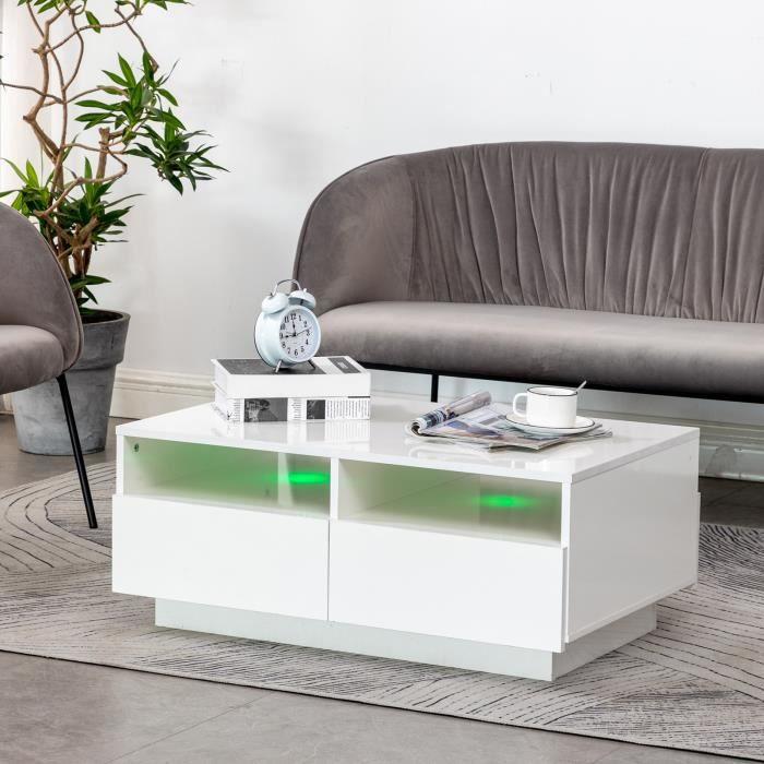 ZHI Bonne Table Basse, Blanche Brillante,4 Tiroirs Design Moderne,85 X 56 X 35 Cm