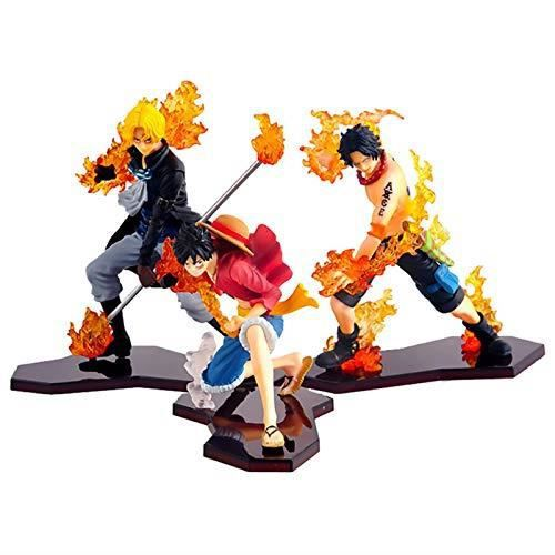 One Piece Luffy Ace Sabo Three Brothers Figurine d'action Japonaise Classique Anime Personnage Ornement Touchant Anime Scène Modèle