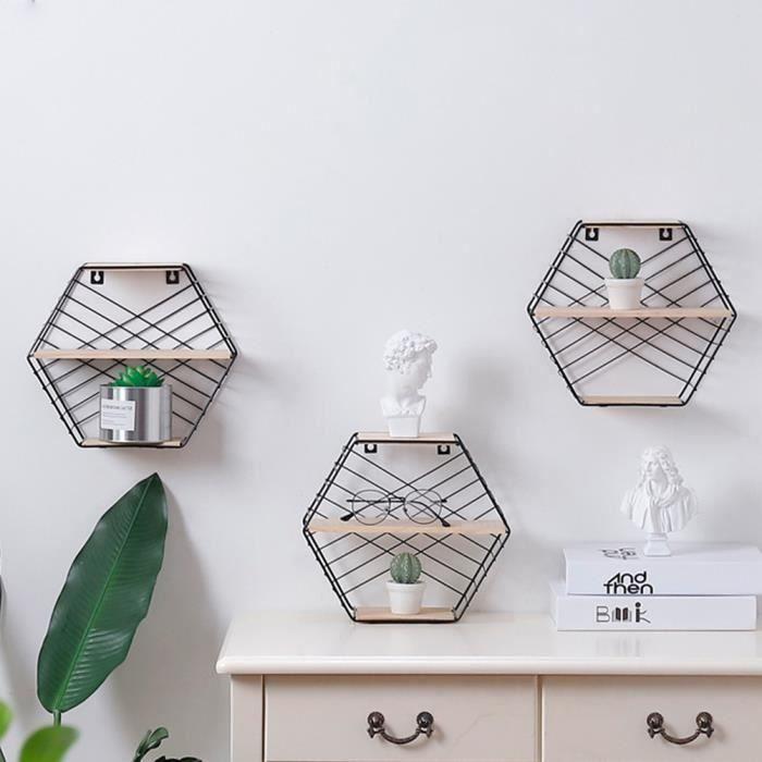 ETAGÈRE MURALE Stockage mural Grille hexagonale en fer forgé Étag