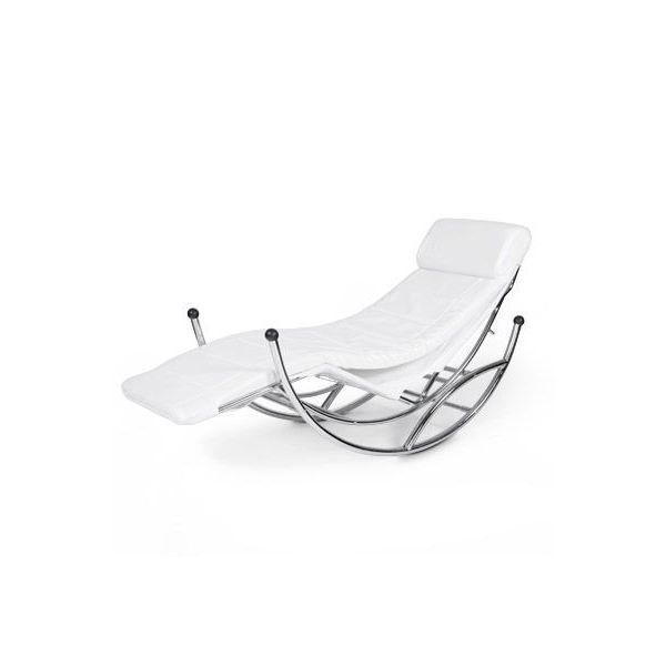 fauteuil design rocking chair relax blanc achat vente fauteuil blanc cdiscount. Black Bedroom Furniture Sets. Home Design Ideas