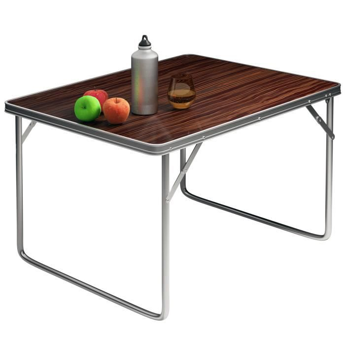 Table camping aluminium design bois pliable prix pas for Table cuisine 60 x 80
