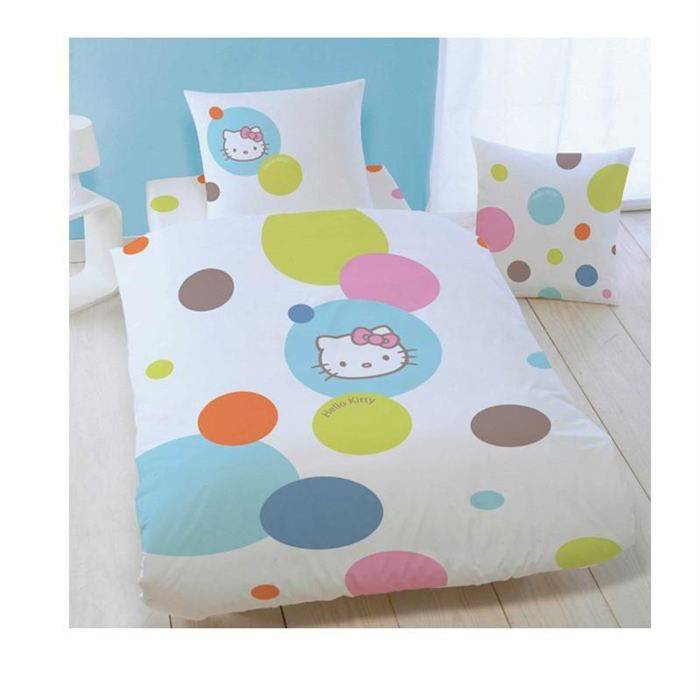 housse de couette hello kitty 200x200 cm 2 taies achat. Black Bedroom Furniture Sets. Home Design Ideas