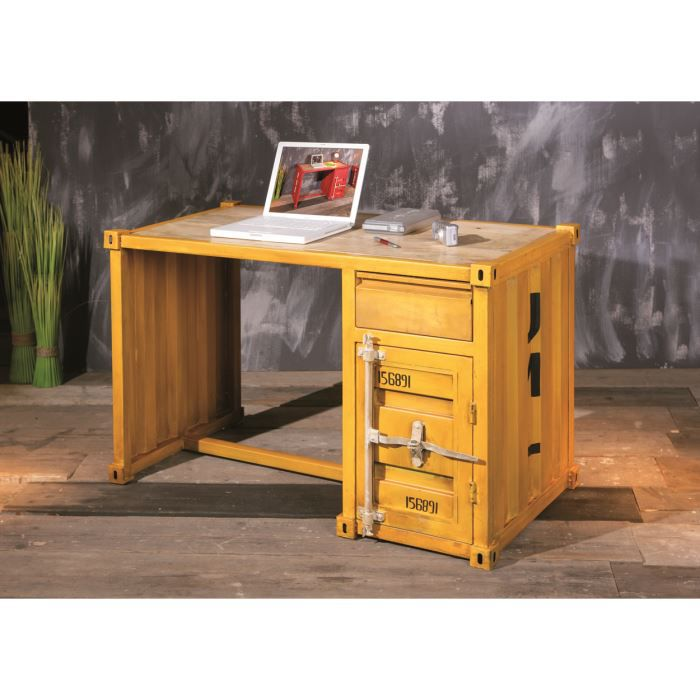 miliboo bureau industriel m tal jaune cargo achat vente bureau miliboo bureau industriel. Black Bedroom Furniture Sets. Home Design Ideas