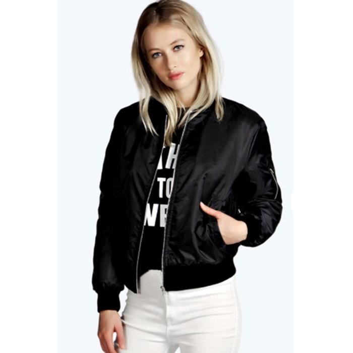 blouson femme style aviateur veste jacket 2016 automne manteau noir noir achat vente manteau. Black Bedroom Furniture Sets. Home Design Ideas