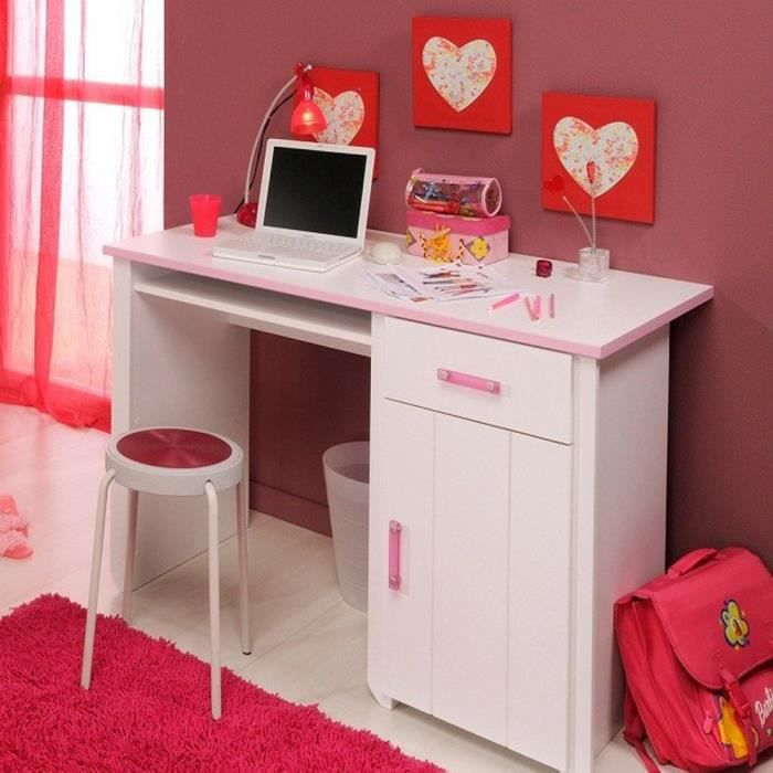 bureau blanc et rose pour chambre fille l 121 x h 77 x p. Black Bedroom Furniture Sets. Home Design Ideas