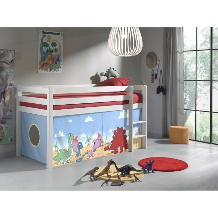 pino lit enfant mezzanine 90x200 dinosaur blanc achat vente lit mezzanine pino lit. Black Bedroom Furniture Sets. Home Design Ideas