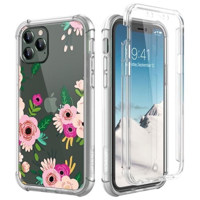 SmartLegend】Coque iPhone XR Bumper Protection Totale à 360 ° avec Protecteur D'écran Intégré Rose Bleu Transparent