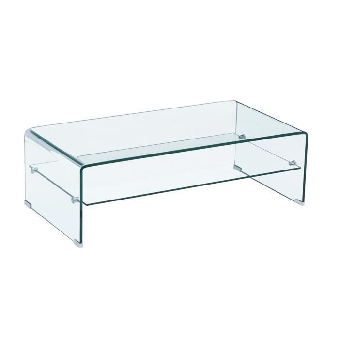 Table basse trendy verre transparente achat vente table basse table basse - Table basse en verre courbe ...
