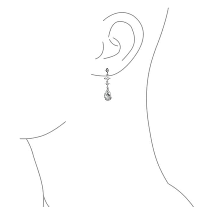 Bling Jewelry Sterling argent clair à facettes Teardrop CZ Earrings