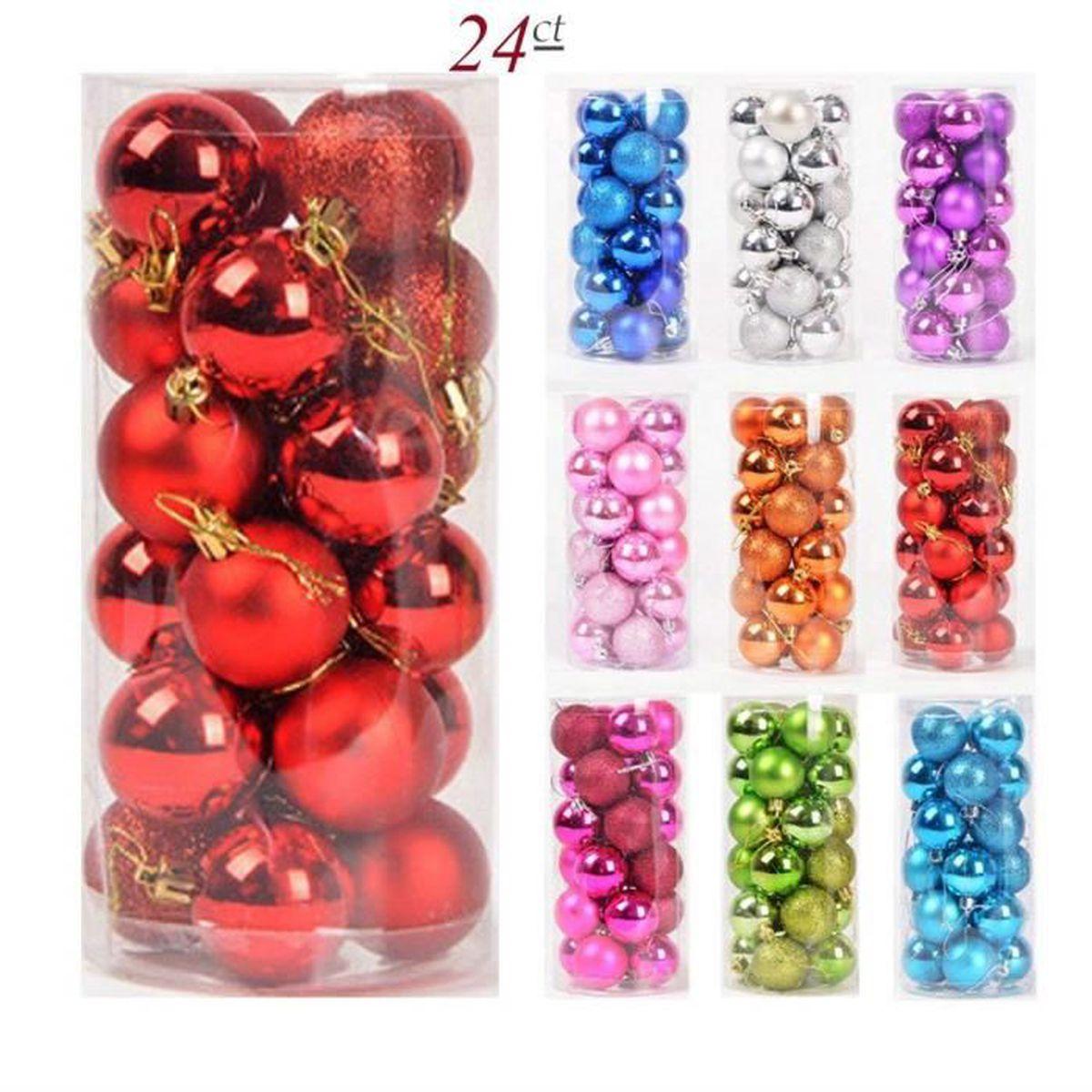 Boule Plastique A Decorer 24pcs boules de noël en plastique pour la décoration fete