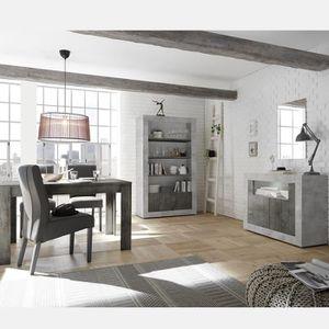 SALLE À MANGER  Ensemble séjour complet couleur béton gris moderne